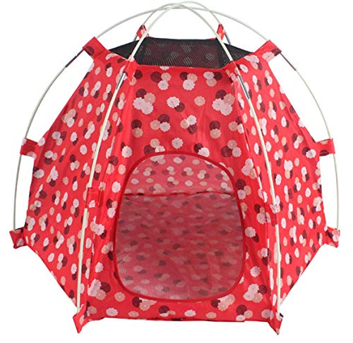 ペットテント 折りたたみ式 犬の家 ポータブル ペットベッド キャンプ テント 屋外 屋内 オレンジ (赤)
