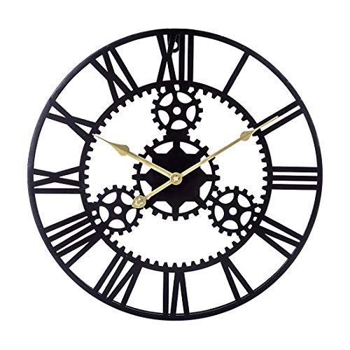 IIKA Reloj de Pared Vintage 40cm Reloj de Pared Grande Silencioso Reloj de Metal Decorativo - Negro