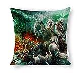 Dartys Pillow Cover Black Magic Undead Skull Dead Army Necromancers Baumwolle und Leinen Pillowcase...