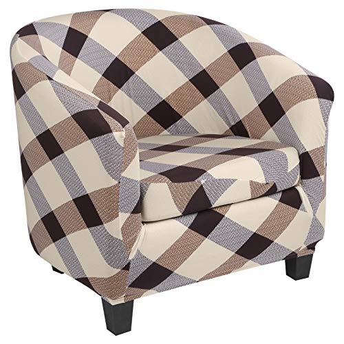 Cysincos Sesselschoner 2 STK, Stretch Cocktailsessel Hussen, Polyester Sesselhusse Couch Überwurf Sesselbezug Sesselüberwurf elastisch Sessel Überzug für Cafe Loungesessel(Gitter 2)