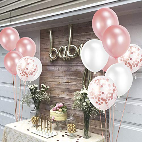 60 Pcs Party Balloons Rose Gold Latex Balloons Confetti Balloons for Birthday Decorations FORMIZON Rose Gold Balloon Set Baby Shower Party Decorations Weddings