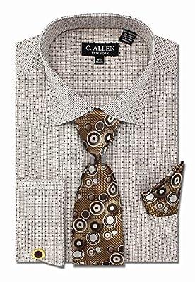 C. Allen Men's Checks Dot Printed Regular Fit Dress Shirts with Tie Hanky Cufflinks Combo