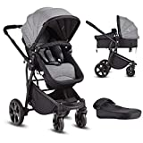 Costzon Infant Stroller, 2-in-1 Convertible Bassinet, Foldable Baby Carriage with Foot Cover, 5-Point Harness, Adjustable Recliner, Handlebar, Large Storage Basket (Gray)