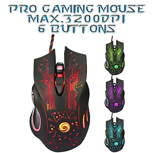 3200DPI LED Optical 6D USB Wired Gaming Mouse 6Buttons Computer Pro Gamer Mice for PC Laptop