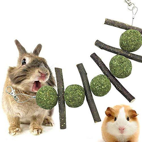 Bunny Kauspielzeug für Haustiere, Snacks, Kauspielzeug, organische Apfelstäbe mit natürlichem Gras Kuchen Kauspielzeug für Kaninchen, Chinchilla, Meerschweinchen, Hamster oder andere kleine Tiere