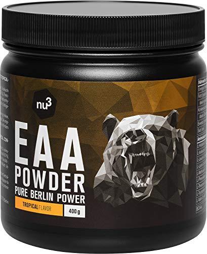 nu3 EAA en polvo – 400g sabor tropical – 8 aminoácidos esenciales – Suplemento deportivo para incrementar fuerza, resistencia y musculación - Contiene los 3 aminos ramificados BCAA - Rápida absorción