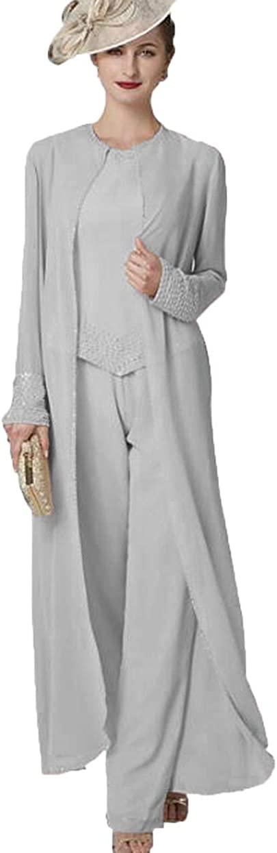 The Peachess Mother of The Bride Dresses for Wedding 3 Pieces Pants Suit Set Beadings Long Jacket