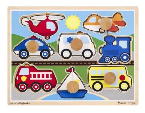 Melissa & Doug Vehicles Jumbo Knob Puzzle by Melissa & Doug TOY (English Manual)