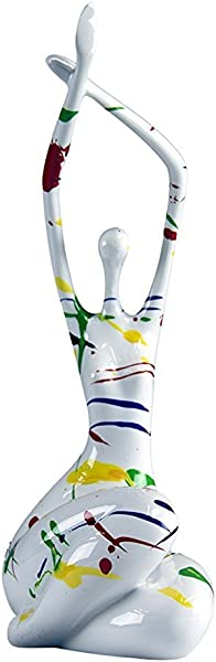 Oh Trendy Trade White With Dripped Color Polished Yogi Sculpture Yoga Meditation Pose Statue Home Decor Yogi Woman Arms Raised