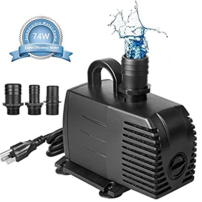 AsFrost Submersible Pond Pump, 600GPH Ultra Quiet Outdoor Water Fountain Pump for Pond, Aquarium, Fish Tank, Hydroponics Water Pump, Backyard Pump with 9.5 ft High Lift, 3 Nozzles, UL Listed