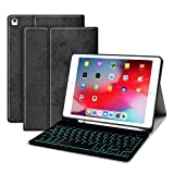 JUQITECH Backlit-Keyboard Case iPad Pro 9.7 - Smart Case with Keyboard for iPad 2018 6th Gen 2017 5th Gen iPad Air 2/1 Detachable Bluetooth Keyboard Soft Cover Case with Built-in Pencil Holder, Black