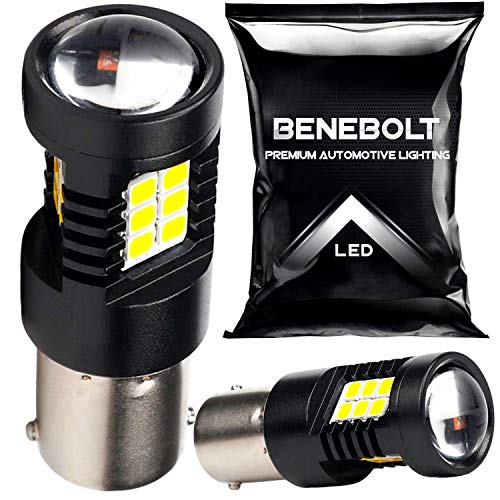 BENEBOLT 1156 LED bulb - Extremely Bright 2800 Lumens 6000K White LED Reverse Lights with Projector Lens - also as 1141 BA15S 7506 LED bulb Brake Tail lightbulb Lawn Mower - 2 Pack