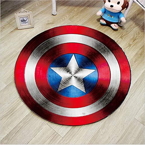 Yugy Teppich Rund Junge Mädchen Captain America Kind Schlafzimmer Wohnzimmer Dekor Teppich Kindergarten Rund Teppich 80cm
