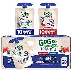 top 10 ancouver yogurt brands GoGo SqueeZ YogurtZ, assortment of various foods (blueberries / strawberries), 20 bags (3 ounces), low-fat yogurt, …