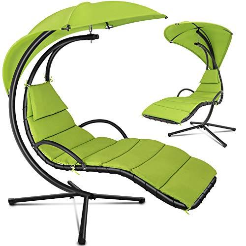 tillvex Hängeliege mit Gestell und Sonnendach Grün | Schwebeliege Outdoor | Sonnenliege Garten | Relaxliege mit Auflage & Nackenkissen