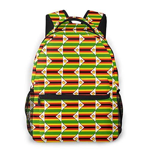 Lightweight College Book Bags,Boys Girls Casual Backpack,Men Women Daypack,Laptop Bags,Adult Travel Rucksack,Originality Zimbabwe Flag