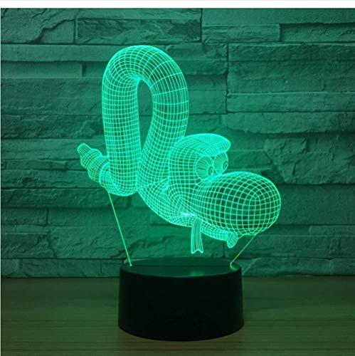 Luces nocturnas Ilusión 3D visual Ilusión óptica Luz de noche para Niños Pacto de Caterpillar decoración del hogar y para codormir Con interfaz USB, cambio de color colorido
