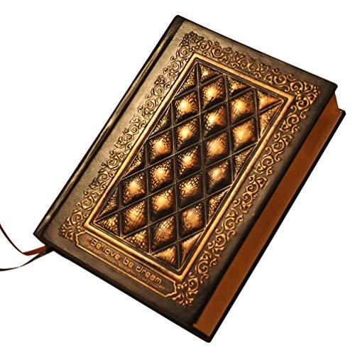 STOBOK Caderno de Anotações Em Relevo Vintage Feito à Mão Em Couro Antigo Livro de Diário Em Branco Caderno de Esboços Bloco de Notas Presente para Escritório de Casa (Ouro Antigo)