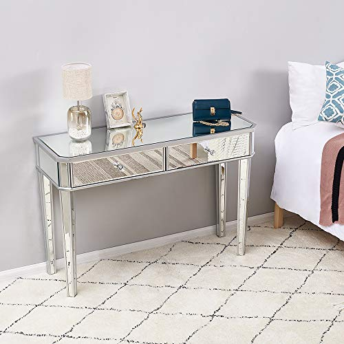 Mirrored Dressing Table Set Furniture Glass With 2 Drawers Vanity Console Dresser Bedroom With Table Top Top Trifold Mirror and Stool (Desk)