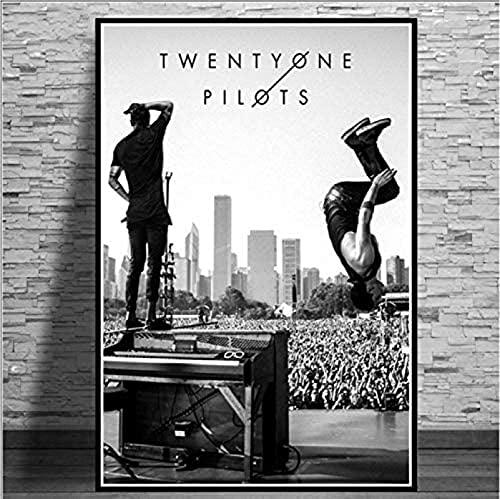 Impresión de Lienzo, póster e Impresiones, póster de Twenty One Pilots Rock Band, imágenes de decoración de Arte de Pared para Dormitorio, Sala de Estar, 50x70 CM sin Marco