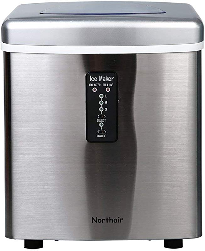 Northair Automatic Ice Maker 35lbs Per Day Stainless Steel Finish Portable Ice Making Machine Compact 7 15 Minutes High Efficiently Creates 9Ice S M L 3 Size Bullet Ice With Ice Scoop Instructions