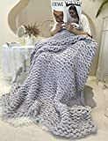 Twomissone Luxury Chunky Knit Chenille Bed Blanket 50x60 Large Knitted Throw Blanket Warm Soft Cozy Bulky Blankets for Cuddling up in Bed, on The Couch or Sofa (50'x60') (Grey)
