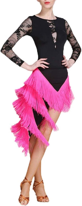 Goodvk-cl Women Costume Dress Women Latin Dance Outfit Ballroom Dance Dress Costume Set Professional Performance Dancing Lyrical Dress Tassel Skirt Dancewear Competition Dress Suit Dance Dress