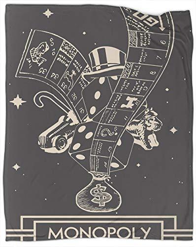 Coobals Monopoly - Manta de forro polar lavable de tamaño completo, súper suave, larga y suave para siesta, excelente sensación de 228 x 188 cm