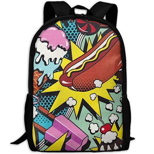 Schulrucksack Hot Dog EIS Cool Interest Durable Bookbag Benutzerdefinierte College Bag Schulreise Daypack Geburtstaggeschenk Lässig Drucken Rucksack Einzigartig
