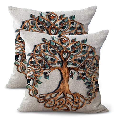 Set of 2 Tree of Life Celtic Knotwork Cushion Cover Couch Throw Pillow case Decorative Bed Pillowcase Wholesale