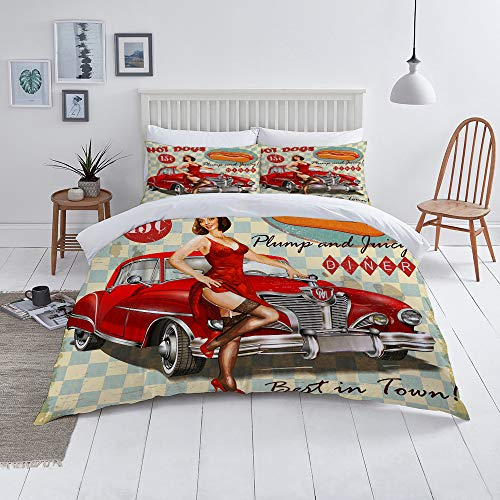 MOONLIT Duvet Cover Set-Bedding,Diner Hot Dog Vintage Pin Up Girl And Retro Car 1950S Cozy,Quilt Cover Bedlinen-Microfibre 140x200cm with 2 Pillowcase 50x80cm