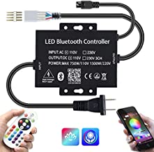 110VAC LED High-Voltage Bluetooth 750W RGB Controller with 25 Keys Wireless IR Remote for AC110V 164Ft Waterproof LED Strip Lights Work with iOS & Android Music Time Control System