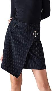Falda Mujer Negra Corta de Punto Asimétrica Otoño/Invierno Sexy Elegante Minifalda Chica Fiesta Ajustada Cierre Cremallera Lateral Talla 40