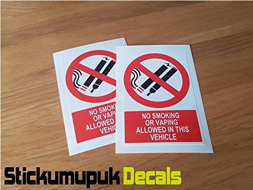 2 x Geen Roken/Vaping VEILIGHEID WAARSCHUWING Tekenen Stickers voor Taxi, Bus Privé Huur Voertuig,- kleur Gedrukt Vinyl Auto Sticker/Decal Free P+P (100mm x 67mm)