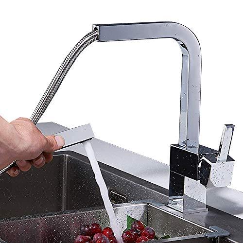 Onyzpily Küchenarmatur Mit Ausziehbarer Mischbatterien Hochdruckhahn für Küche Spültischbatterie Armatur Messing Wandarmatur Chrom