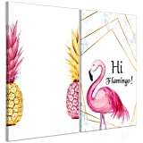 decomonkey Bilder Flamingo Ananas 120x90 cm 2 Teilig
