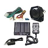 AS - Kit de sirena electrónica con cable de 12 V con altavoz principal con mando a distancia con cable, terminal auxiliar de luz para ajustarse a vehículos de ingeniería, bomberos o policía