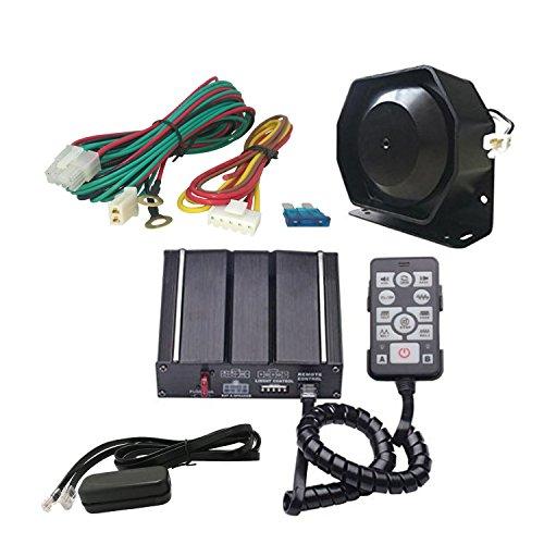 AS 100W Kit de sirène électronique A3E-SPK0021 Lot de 3 pièces, 20 tonalités avec boîtier de sirène, Haut-parleur, Télécommande, Fonction PA, parfait pour Police, Ambulance, Véhicules des pompiers.