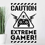 Caution Extreme Gamer Wall Sticker Niños Dormitorio Decoración Juegos Arte de la pared de los niños Decoración de la habitación Pegatinas Pegatinas adolescentes jugadores niño carteles niño
