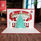 Gaddrt - Tarjeta de felicitación 3D con sobre, diseño de Navidad E