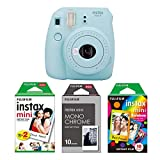 Fujifilm instax Mini 9 Imaging Kamera mit Filmset monochrome, eis blau -