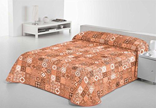 SABANALIA - Colcha Estampada Rustik (Disponible en Varios tamaños), Color Naranja, Cama 90-180 x 280 cm