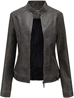 Yshaobinggva Women's Leather Jacket Retro Washed Plus Velvet Leather Jacket Motorcycle Leather Jacket Slim Leather Jacket (Color : Gray, Size : M)