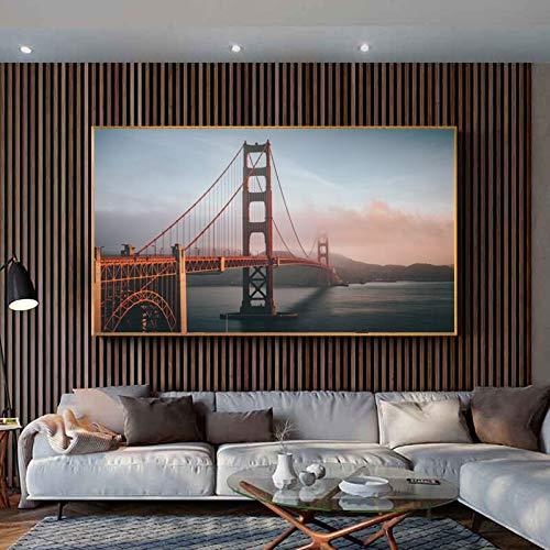 ganlanshu Rahmenlose Malerei Moderne Stadtgebäude hoch aufragende Landschaftsplakate und Drucke WohnkulturZGQ6581 40X70cm