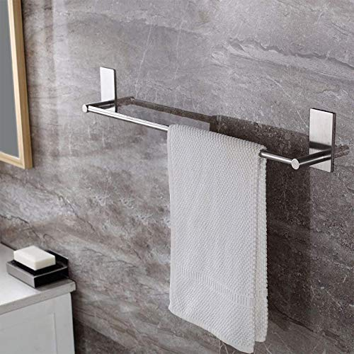 Taozun Towel Bar Self Adhesive 27.55-Inch Bathroom Brushed SUS 304 Stainless Steel Bath Wall Shelf Rack Hanging Towel Stick On Sticky Hanger Contemporary Style