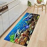 OPLJ 3D Underwater World Küchenmatte Eingang Fußmatte Schlafzimmer Bodendekoration Wohnzimmer Teppich rutschfeste Fußmatte A3 50x160cm