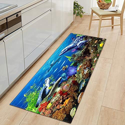 OPLJ 3D Underwater World Küchenmatte Eingang Fußmatte Schlafzimmer Bodendekoration Wohnzimmer Teppich rutschfeste Fußmatte A3 40x60cm