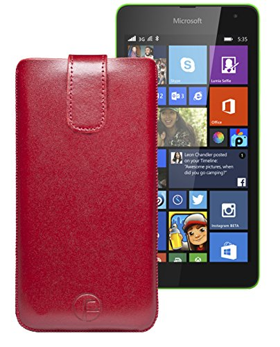 Original Favory ® Etui Tasche für / Microsoft Lumia 435 - Microsoft Lumia 532 Dual Sim / Leder Etui Handytasche Ledertasche Schutzhülle Hülle Hülle *Lasche mit Rückzugfunktion* In rot
