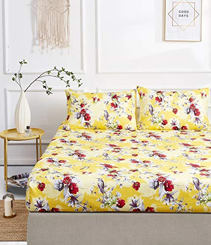 DaDa Bedding Radiant Sunshine Yellow Fitted Sheet w/Pillow Cases Set - Farmhouse Floral Hummingbirds Bright Vibrant Multi-Colorful Red Flowers - King - 3-Pieces