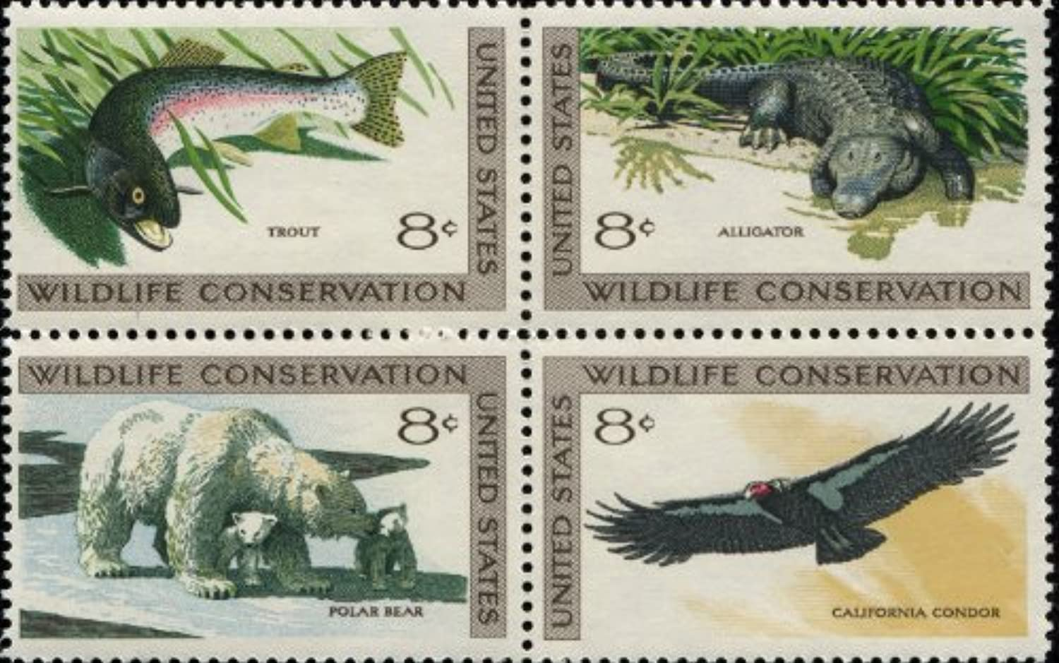 WILDLIFE CONSERVATION  TROUT  ALLIGATOR  POLAR BEAR  CALIFORNIA CONDOR  1430 BLOCK of 4 x 8 US Postage Stamps by USPS